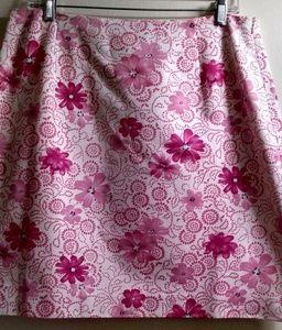 Ann Taylor pink & cream floral a line skirt 14